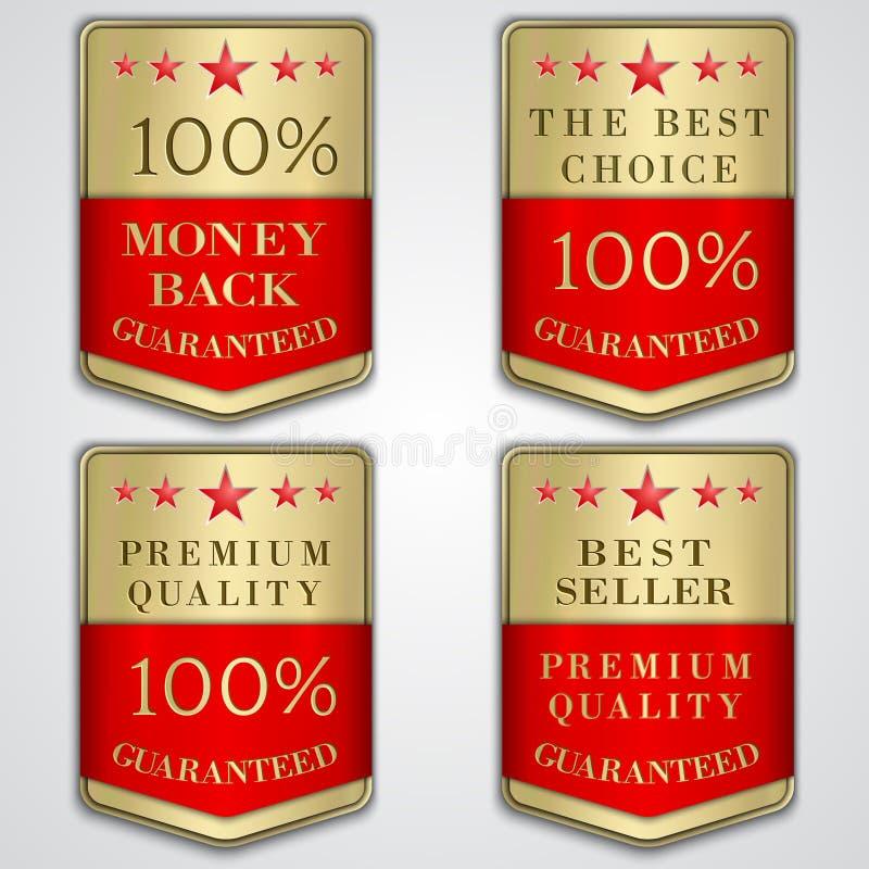 Διανυσματική χρυσή ετικέτα διακριτικών που τίθεται με την εξαιρετική ποιότητα απεικόνιση αποθεμάτων