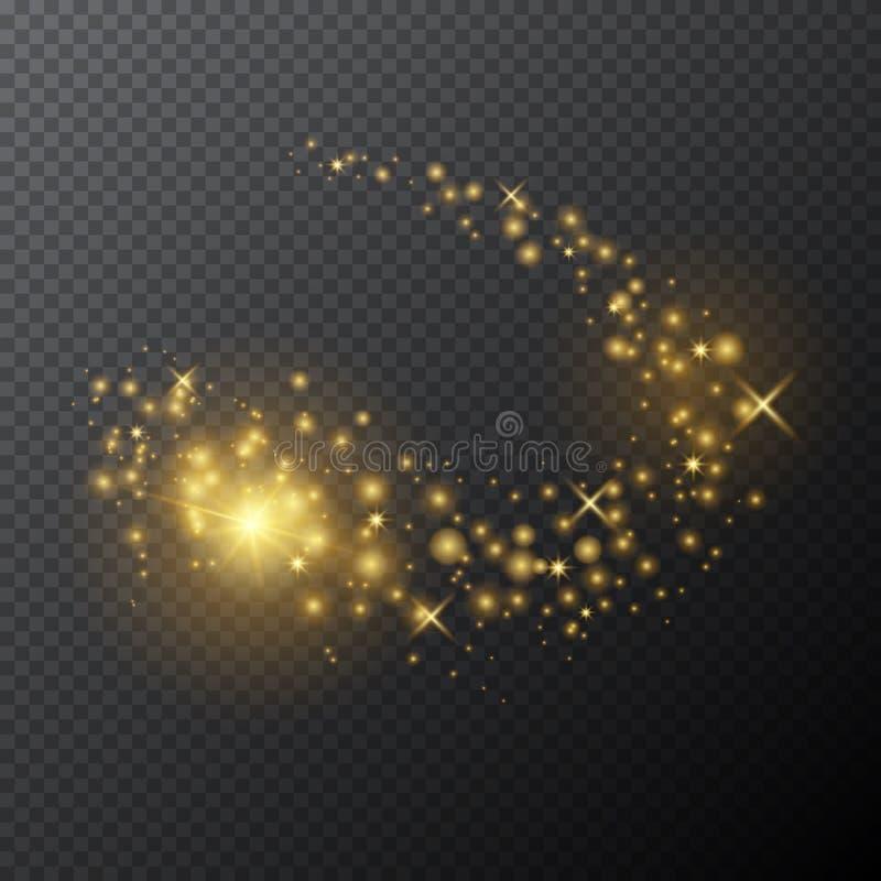 Διανυσματική χρυσή μαγική ράβδος με την ελαφριά επίδραση πυράκτωσης στο διαφανές υπόβαθρο διανυσματική απεικόνιση
