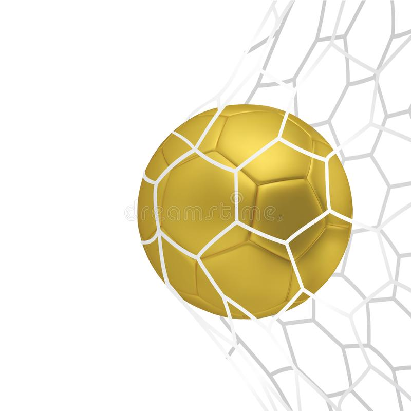 Διανυσματική χρυσή ρεαλιστική σφαίρα ποδοσφαίρου ή σφαίρα ποδοσφαίρου στο άσπρο υπόβαθρο neton τρισδιάστατη διανυσματική σφαίρα ύ ελεύθερη απεικόνιση δικαιώματος