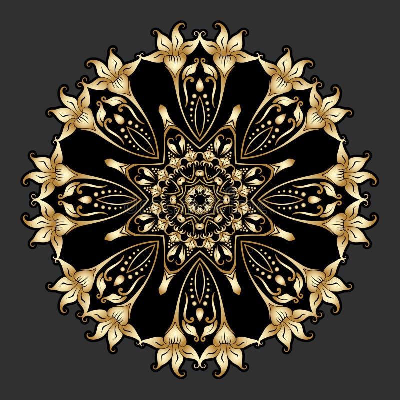Διανυσματική χρυσή στρογγυλή διακόσμηση διανυσματική απεικόνιση