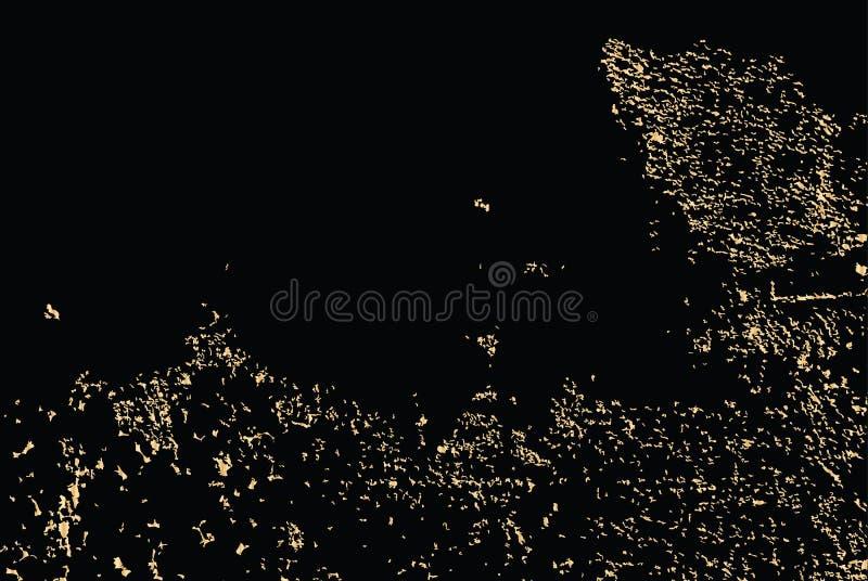 Διανυσματική χρυσή σύσταση grunge που απομονώνεται στο Μαύρο Χρυσό υπόβαθρο γρατσουνιών όρφνωσης διανυσματική απεικόνιση