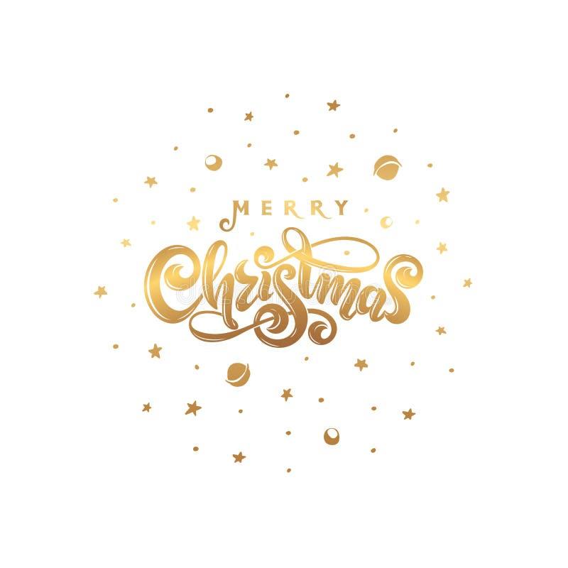 Διανυσματική χρυσή Χαρούμενα Χριστούγεννα κειμένων που απομονώνεται στην κοσμική στρογγυλή μορφή σφαιρών Χειρόγραφη εορταστική γρ διανυσματική απεικόνιση