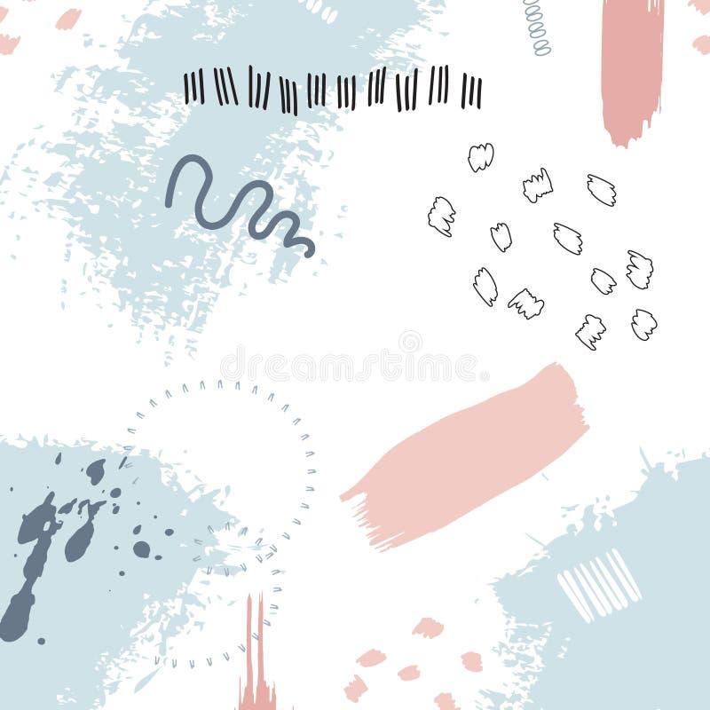 Διανυσματική χρωματισμένη grunge σύσταση Ελεύθερη καλλιτεχνική γραφική απεικόνιση Ακρυλικό λαϊκό σχέδιο κρητιδογραφιών ταπετσαριώ διανυσματική απεικόνιση