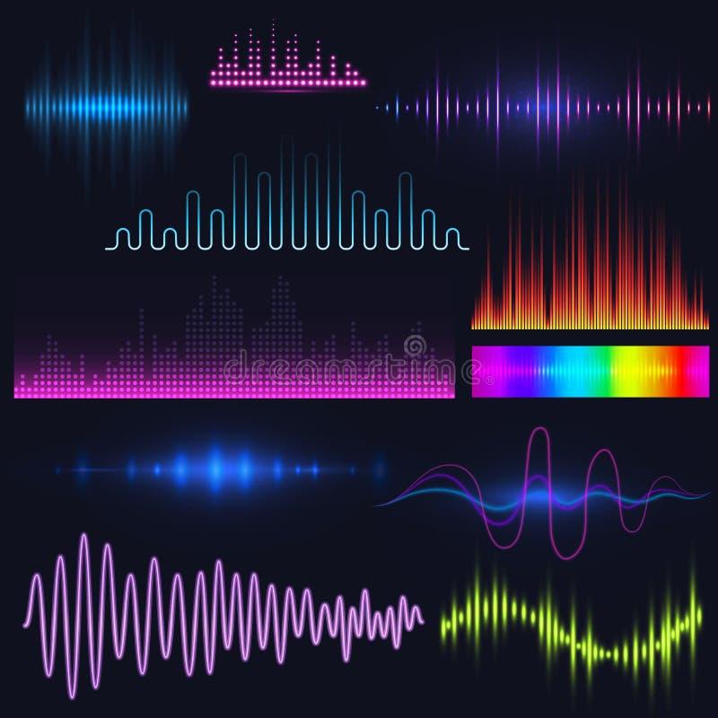 Διανυσματική ψηφιακή μουσικής εξισωτών ακουστική κυμάτων σχεδίου απεικόνιση απεικόνισης σημάτων προτύπων ακουστική απεικόνιση αποθεμάτων