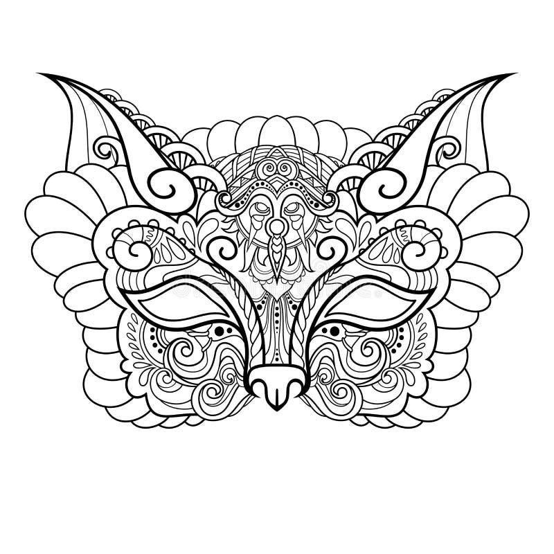 Διανυσματική όμορφη γάτα μασκών μεταμφιέσεων απεικόνιση αποθεμάτων