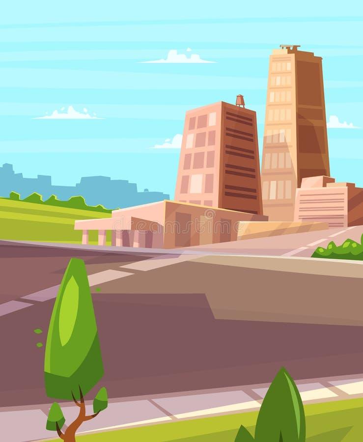 Διανυσματική όμορφη ηλιοφάνεια πέρα από την πόλη κινούμενων σχεδίων με την εθνική οδό ελεύθερη απεικόνιση δικαιώματος