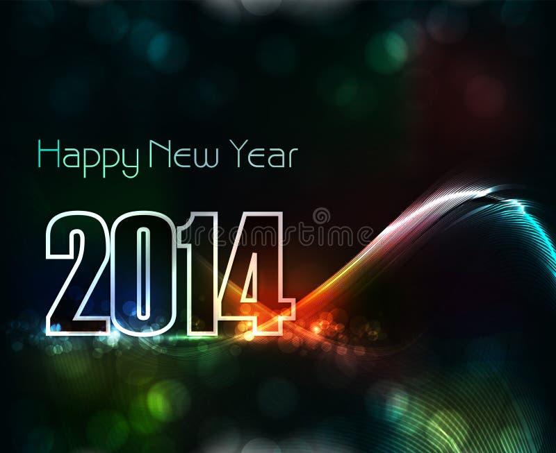 Διανυσματική όμορφη κομψή ζωηρόχρωμη νέα κάρτα έτους 2014 ελεύθερη απεικόνιση δικαιώματος