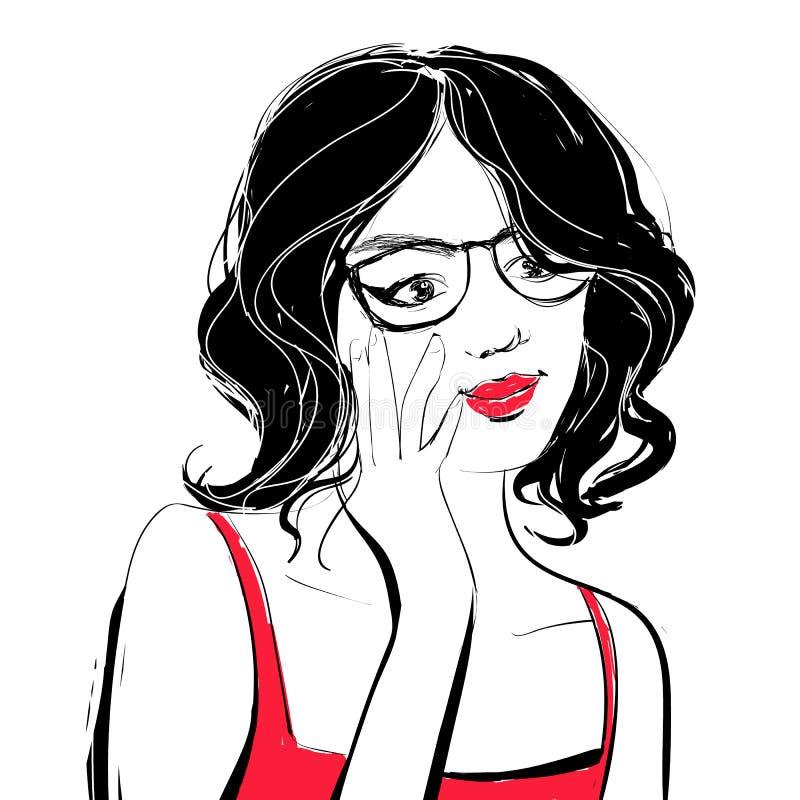 Διανυσματική όμορφη νέα γυναίκα με τη σγουρή σκοτεινή τρίχα που κρατά τα μαύρα γυαλιά της Απεικόνιση ύφους μόδας απεικόνιση αποθεμάτων