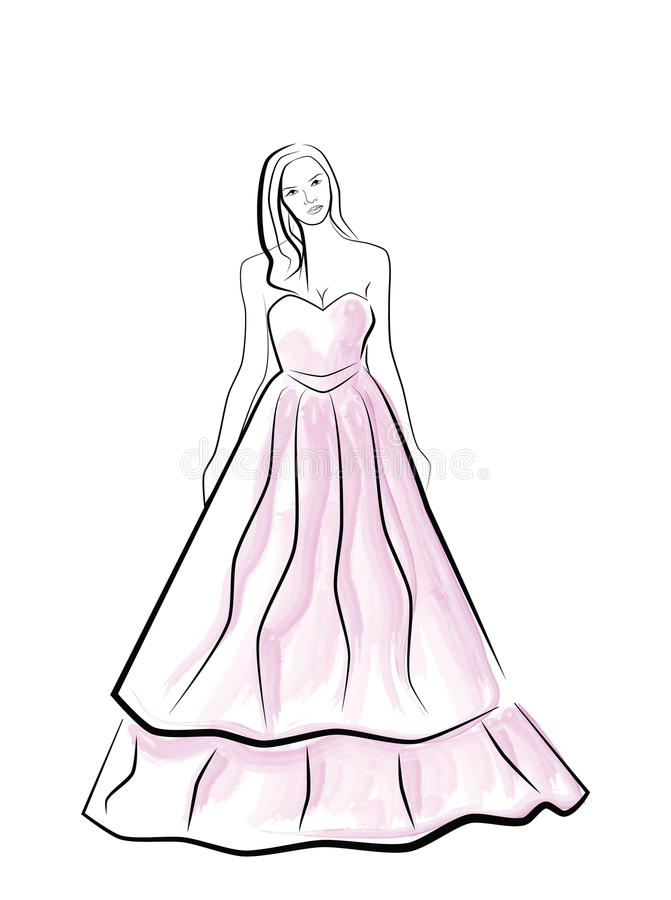 Διανυσματική όμορφη νέα νύφη ελεύθερη απεικόνιση δικαιώματος