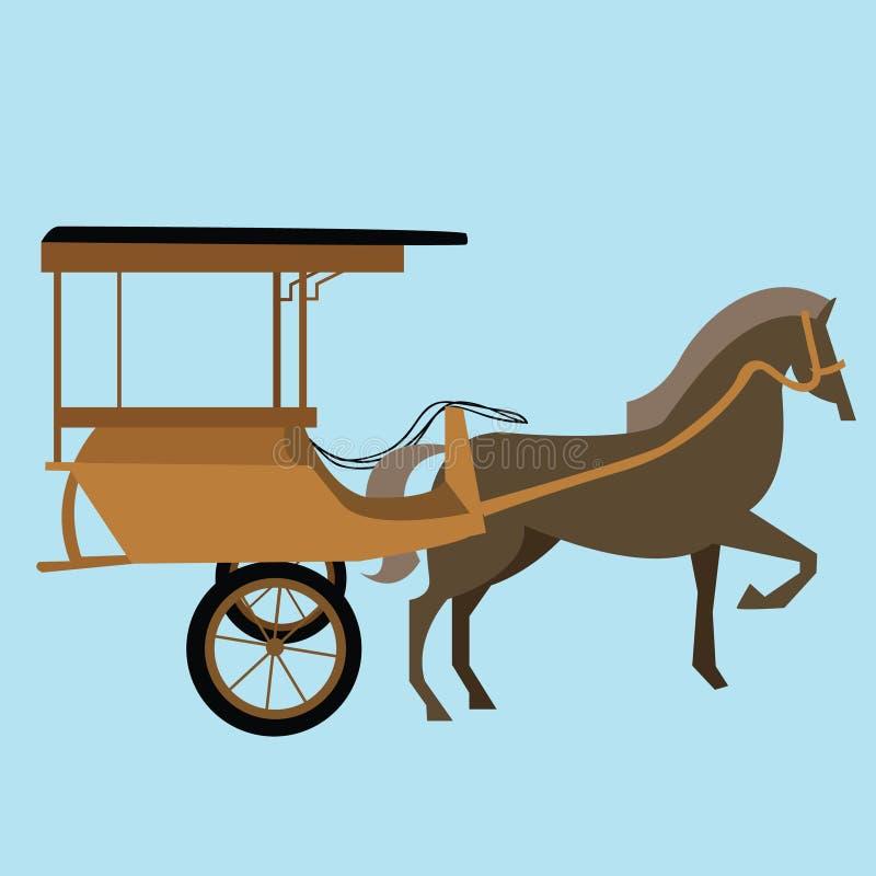 Διανυσματική delman παλαιά παραδοσιακή μεταφορά Ινδονησία της Ασίας κάρρων μεταφορών αλόγων απεικόνιση αποθεμάτων