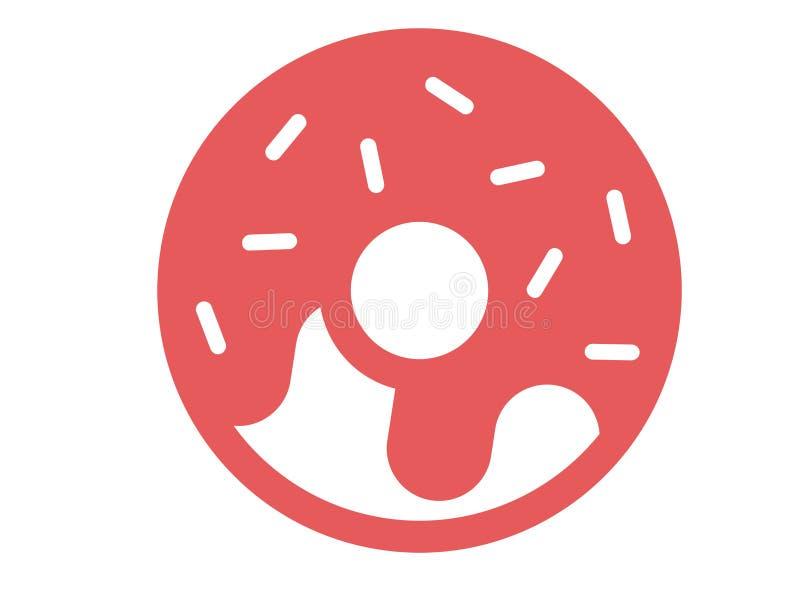 Διανυσματική doughnut λογότυπων φράουλα στο άσπρο υπόβαθρο απεικόνιση αποθεμάτων
