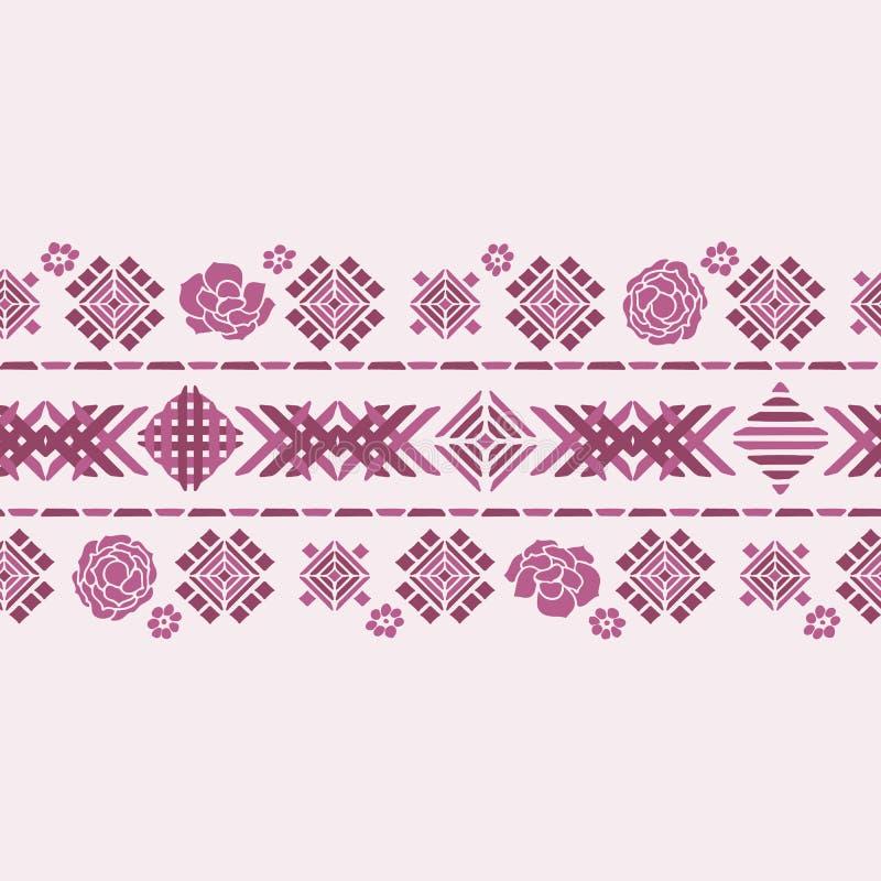 Διανυσματική floral γεωμετρική διακόσμηση σκιαγραφιών χρώματος συνόρων κεντητικής ελεύθερη απεικόνιση δικαιώματος