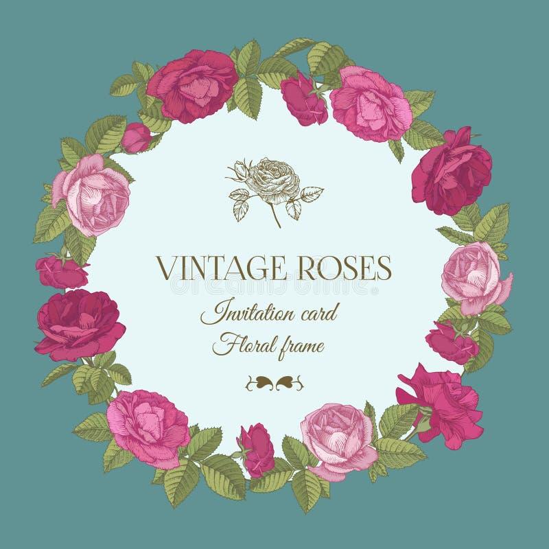 Διανυσματική floral ευχετήρια κάρτα με ένα στρογγυλό πλαίσιο των κόκκινων και ρόδινων τριαντάφυλλων διανυσματική απεικόνιση