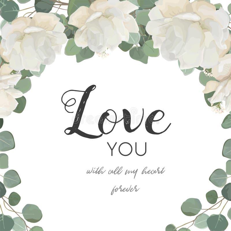 Διανυσματική floral κάρτα σχεδίου Άσπρος αυξήθηκε peony λουλούδι Eucaly σκονών ελεύθερη απεικόνιση δικαιώματος
