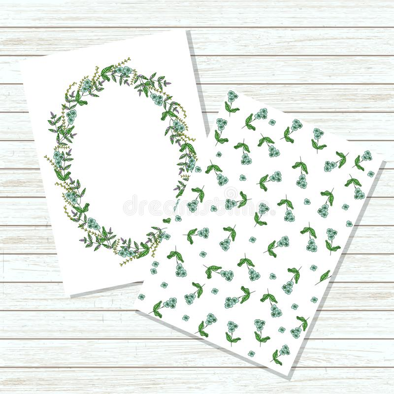 Διανυσματική floral πρόσκληση ή έμβλημα στο ύφος κινούμενων σχεδίων Χλεύ διανυσματική απεικόνιση