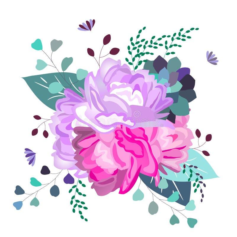 Διανυσματική floral ρομαντική, ρόδινη και πορφυρή σύνθεση Καθιερώνοντα τη μόδα λουλούδια, succulent, φύλλα, πρασινάδα Καλοκαίρι,  ελεύθερη απεικόνιση δικαιώματος