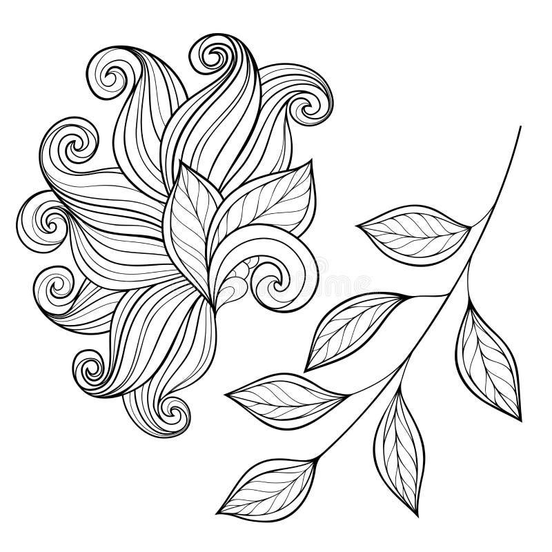 Διανυσματική Floral συλλογή συρμένων των χέρι στοιχείων σχεδίου διανυσματική απεικόνιση