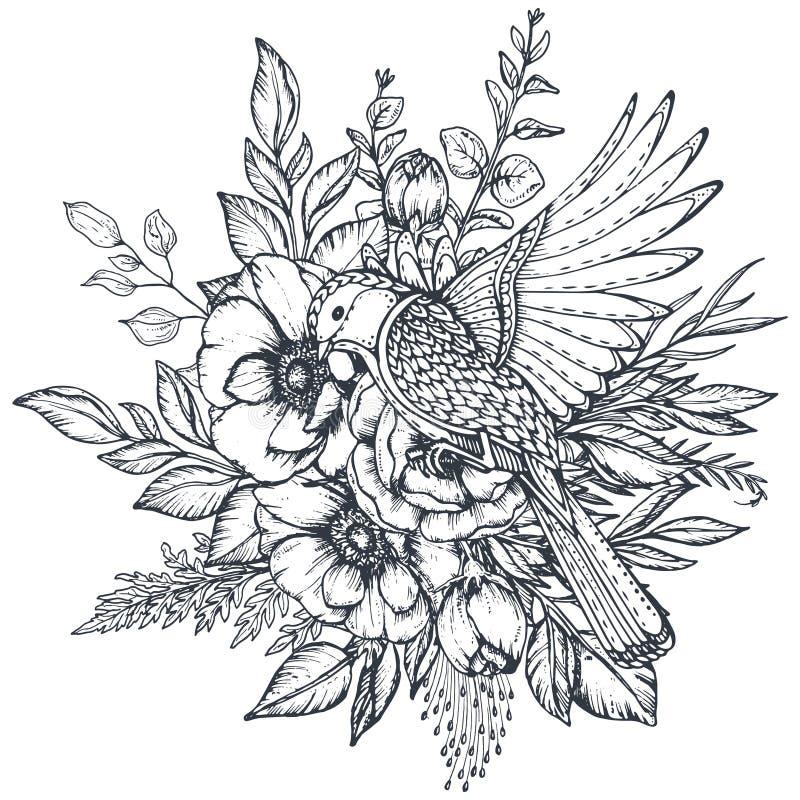 Διανυσματική floral σύνθεση συρμένων των χέρι λουλουδιών anemone και του περίκομψου πουλιού ελεύθερη απεικόνιση δικαιώματος
