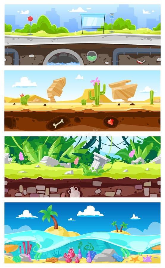Διανυσματική gamification διεπαφών τοπίων κινούμενων σχεδίων υποβάθρου παιχνιδιών και εικονική παράσταση πόλης ή αστικό σκηνικό σ διανυσματική απεικόνιση