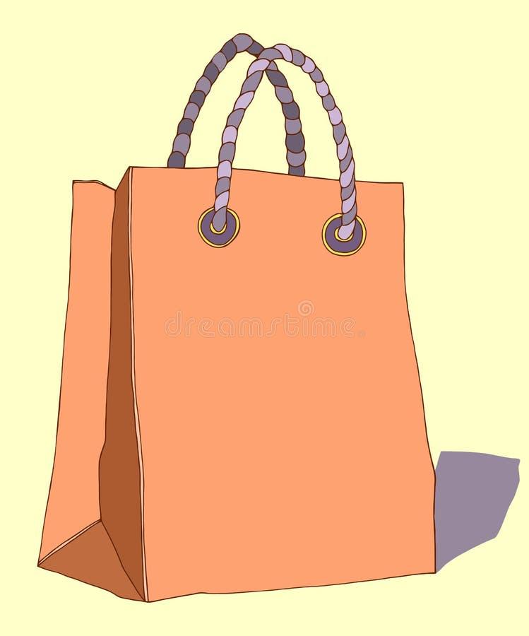 Διανυσματική hand-drawn τσάντα εγγράφου με τις λαβές για τις αγορές ελεύθερη απεικόνιση δικαιώματος