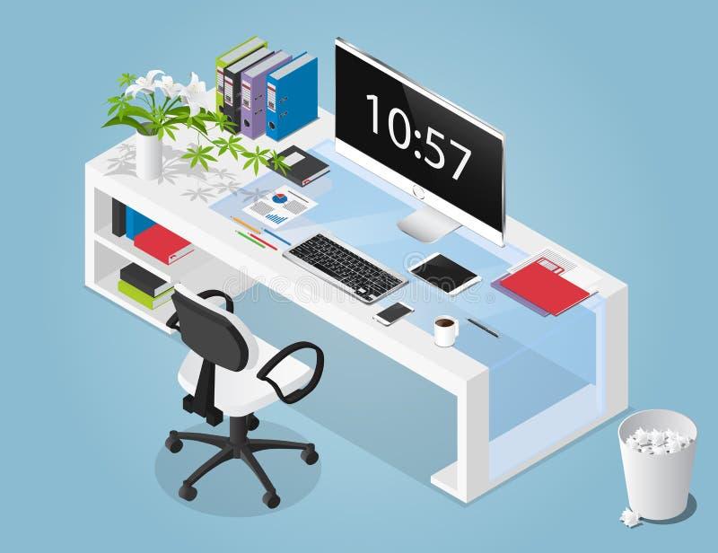 Διανυσματική isometric απεικόνιση έννοιας του χώρου εργασίας γραφείων ελεύθερη απεικόνιση δικαιώματος