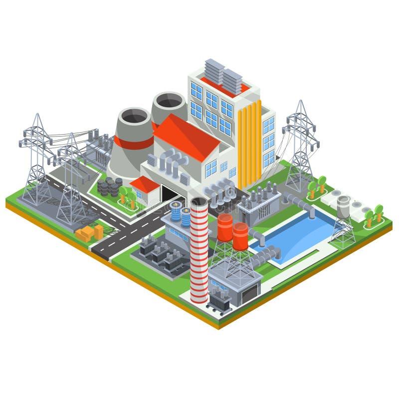 Διανυσματική isometric απεικόνιση ενός πυρηνικού σταθμού για την παραγωγή της ηλεκτρικής ενέργειας διανυσματική απεικόνιση