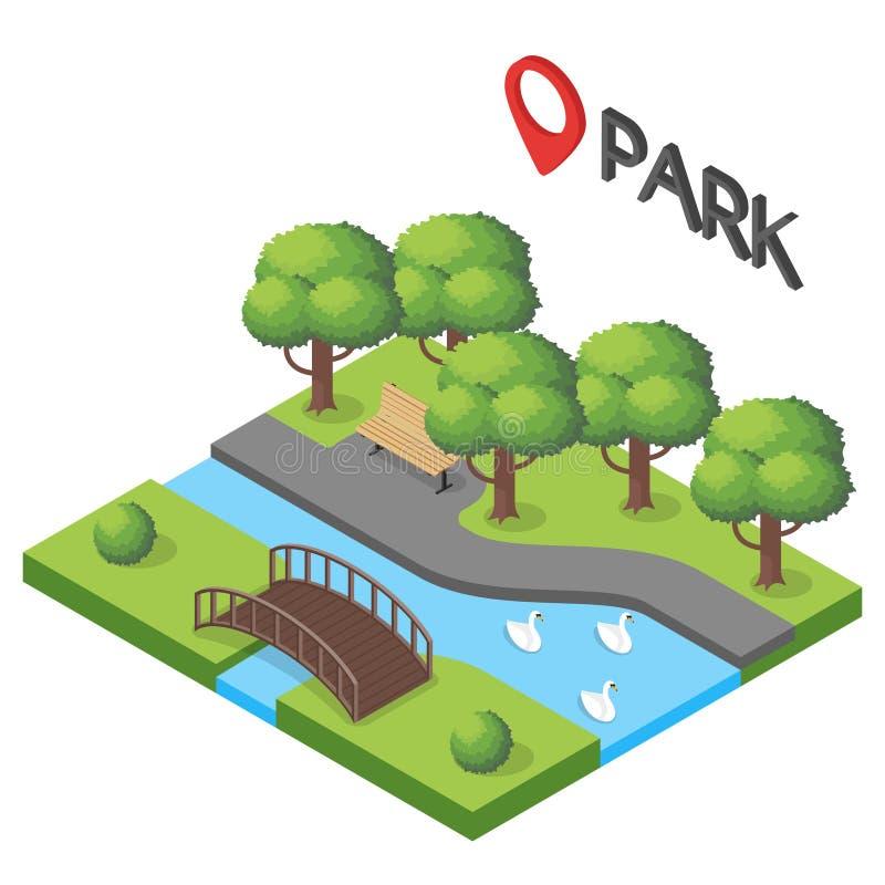 Διανυσματική isometric απεικόνιση του πάρκου απεικόνιση αποθεμάτων