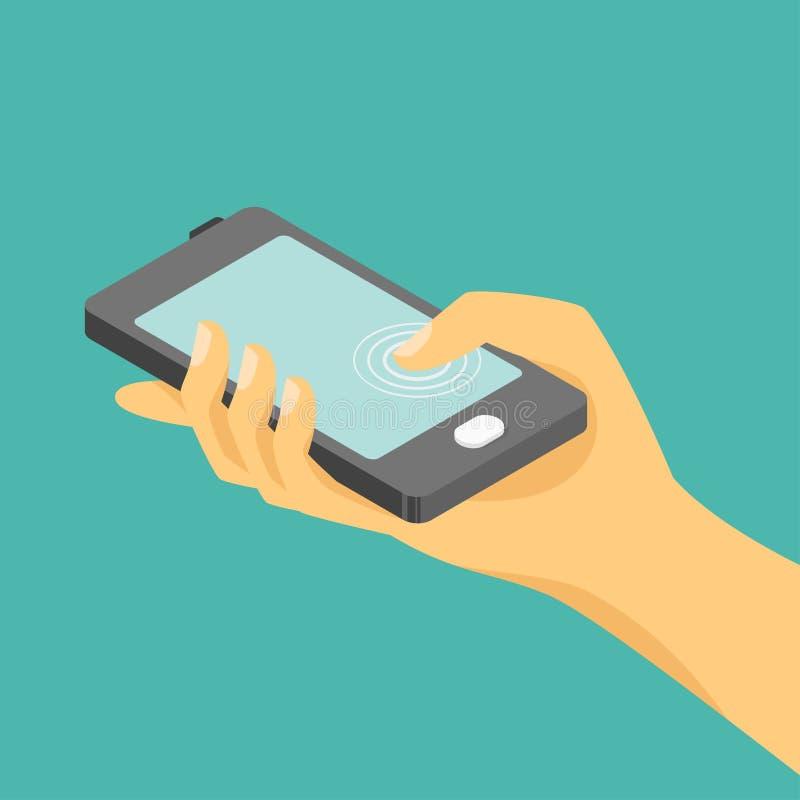 Διανυσματική isometric απεικόνιση του χεριού και ενός smartphone διανυσματική απεικόνιση