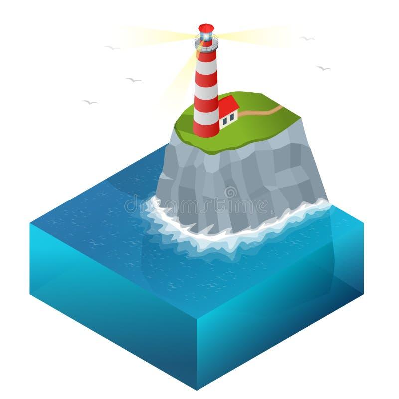 Διανυσματική isometric απεικόνιση φάρων Πύργοι προβολέων για τη θαλάσσια πλοήγησης καθοδήγηση ελεύθερη απεικόνιση δικαιώματος