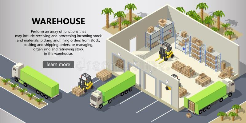 Διανυσματική isometric αποθήκη εμπορευμάτων, υπηρεσία παράδοσης απεικόνιση αποθεμάτων
