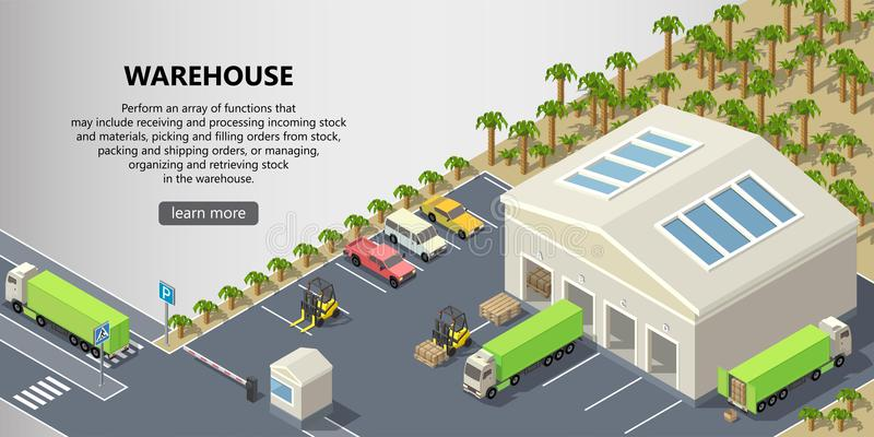 Διανυσματική isometric αποθήκη εμπορευμάτων, υπηρεσία παράδοσης διανυσματική απεικόνιση