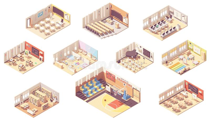 Διανυσματική isometric διατομή σχολικού κτιρίου διανυσματική απεικόνιση