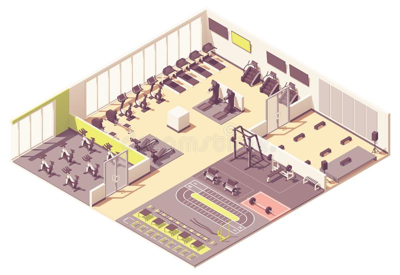 Διανυσματική isometric λέσχη ικανότητας ή εσωτερικό γυμναστικής ελεύθερη απεικόνιση δικαιώματος