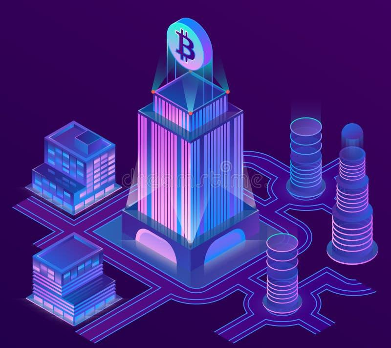 Διανυσματική isometric πόλη στα υπεριώδη χρώματα ελεύθερη απεικόνιση δικαιώματος