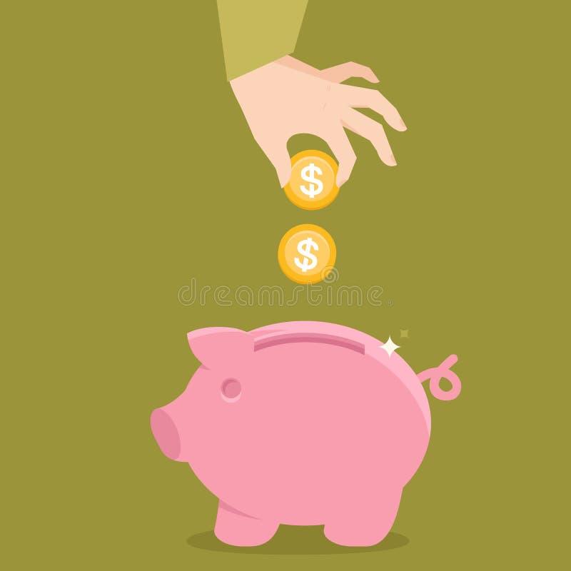 Διανυσματική piggy έννοια τραπεζών στο επίπεδο ύφος απεικόνιση αποθεμάτων