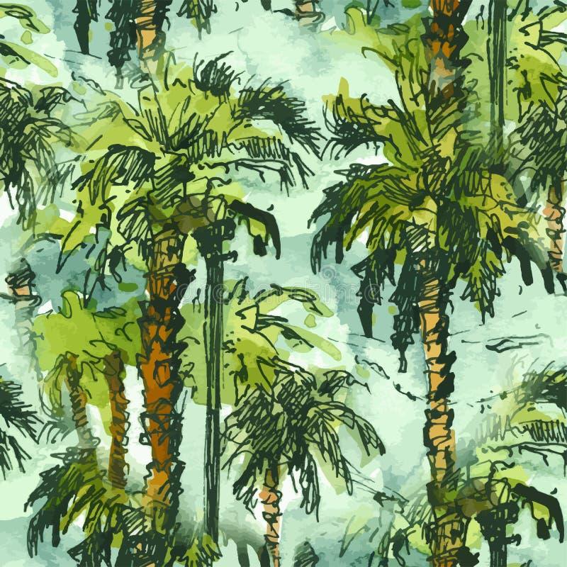 Διανυσματικοί άνευ ραφής τροπικοί φοίνικες patternwith Παφλασμός Watercolor με συρμένη τη χέρι απεικόνιση σκίτσων αναδρομικός ζωη διανυσματική απεικόνιση