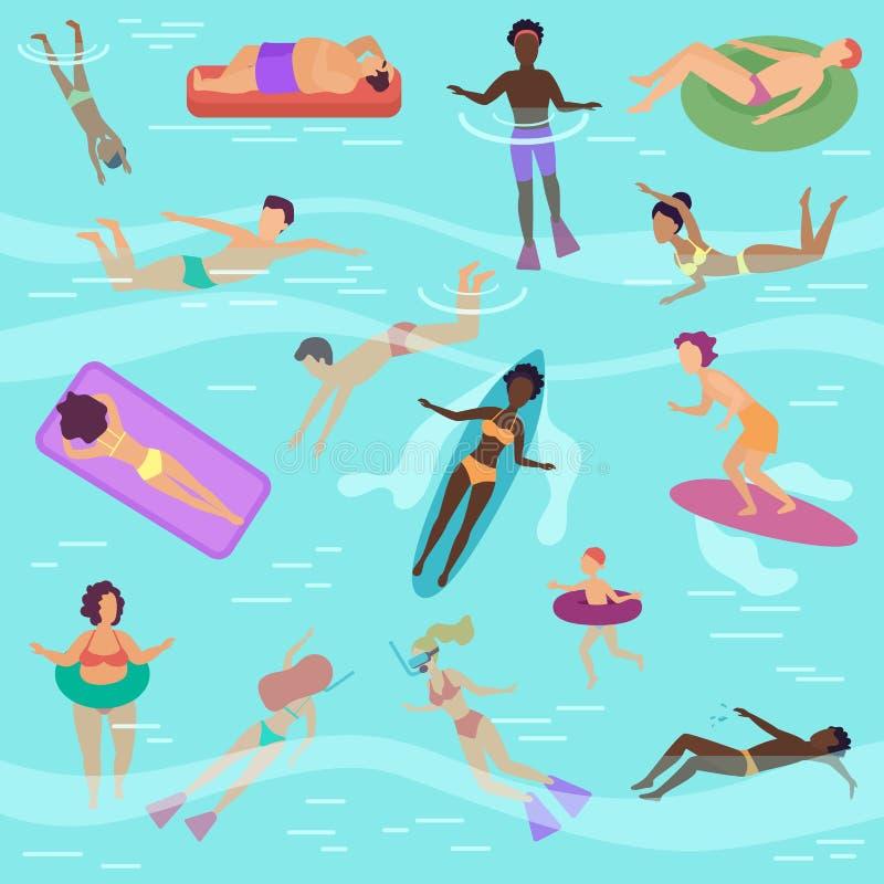 Διανυσματικοί άνθρωποι κινούμενων σχεδίων που τίθενται στη θάλασσα ή τον ωκεανό που εκτελεί τις διάφορες δραστηριότητες Αρσενική  διανυσματική απεικόνιση