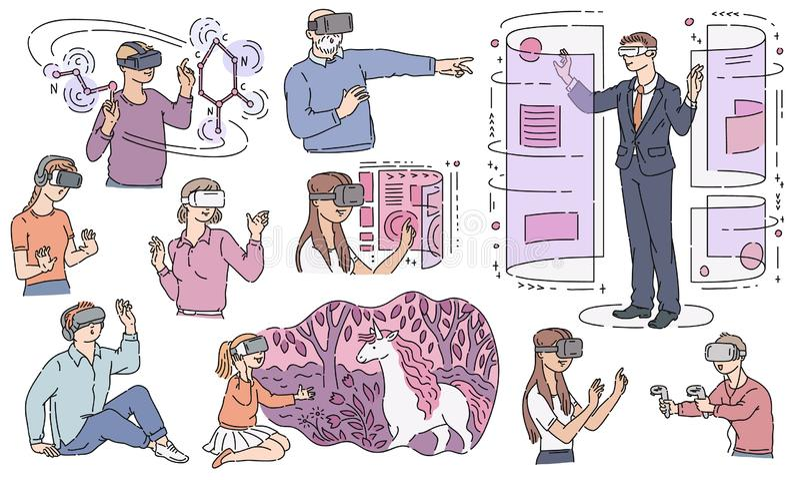 Διανυσματικοί άνθρωποι στο goggless επίπεδο σύνολο VR διανυσματική απεικόνιση