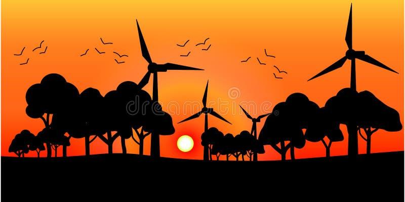 Διανυσματικοί ανεμόμυλοι σκιαγραφιών στο ηλιοβασίλεμα στοκ εικόνα με δικαίωμα ελεύθερης χρήσης