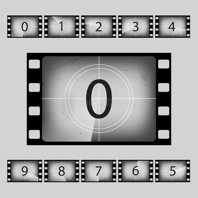 Διανυσματικοί αριθμοί αντίστροφης μέτρησης κινηματογράφων αναδρομικοί καθορισμένοι διανυσματική απεικόνιση