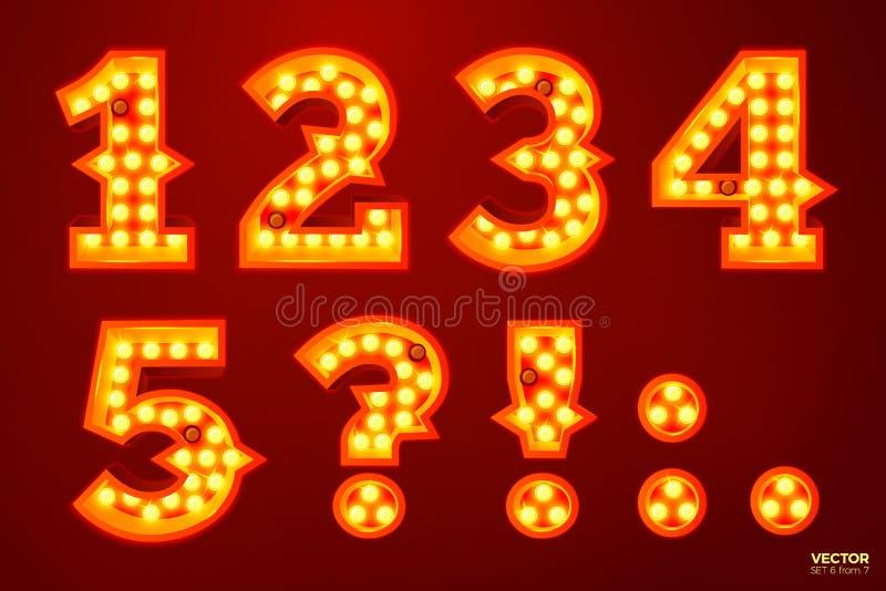 Διανυσματικοί αριθμοί λαμπτήρων πυράκτωσης, για το τσίρκο, τον κινηματογράφο κ.λπ. διανυσματική απεικόνιση