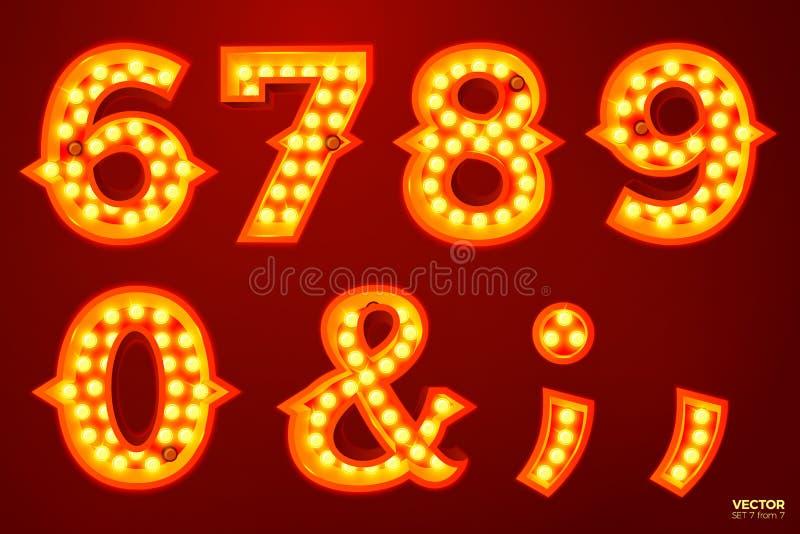 Διανυσματικοί αριθμοί λαμπτήρων πυράκτωσης, για το τσίρκο, τον κινηματογράφο κ.λπ. ελεύθερη απεικόνιση δικαιώματος