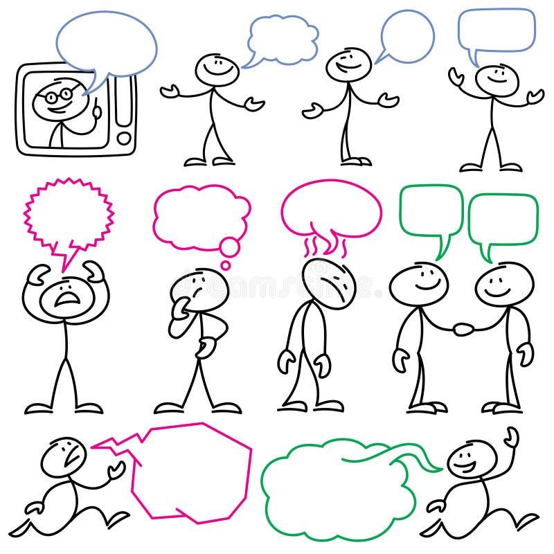 Διανυσματικοί αριθμοί ραβδιών σκίτσων με τις κενές φυσαλίδες διαλόγου απεικόνιση αποθεμάτων