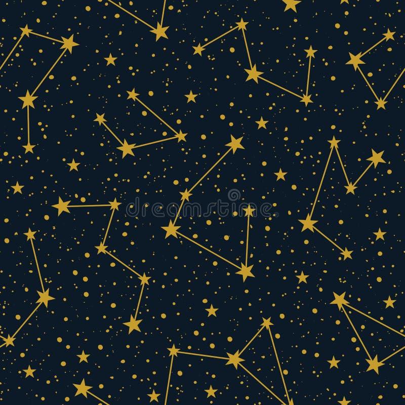 Διανυσματικοί αστερισμοί στο σκοτεινό έναστρο διανυσματικό άνευ ραφής σχέδιο ουρανού Υπόβαθρο διακοπών χειμερινών Χριστουγέννων Σ διανυσματική απεικόνιση