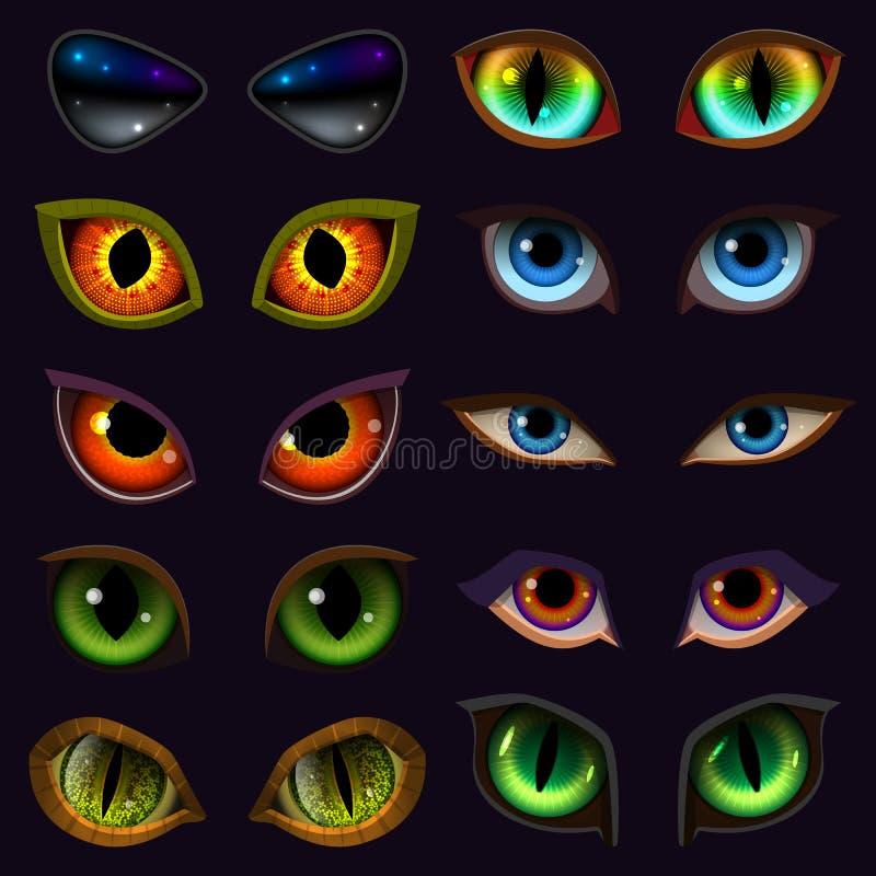 Διανυσματικοί βολβοί του ματιού διαβόλων ματιών κινούμενων σχεδίων των τρομακτικών εκφράσεων κτηνών ή τεράτων και ζώων με το κακό διανυσματική απεικόνιση
