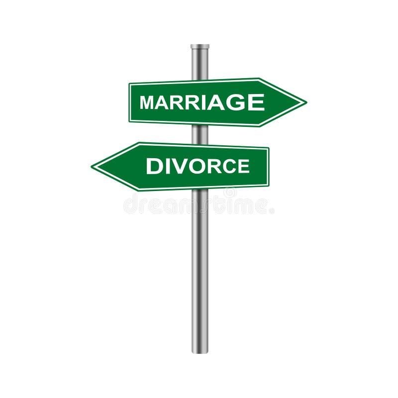 Διανυσματικοί γάμος και διαζύγιο σημαδιών βελών αποθεμάτων απεικόνιση αποθεμάτων