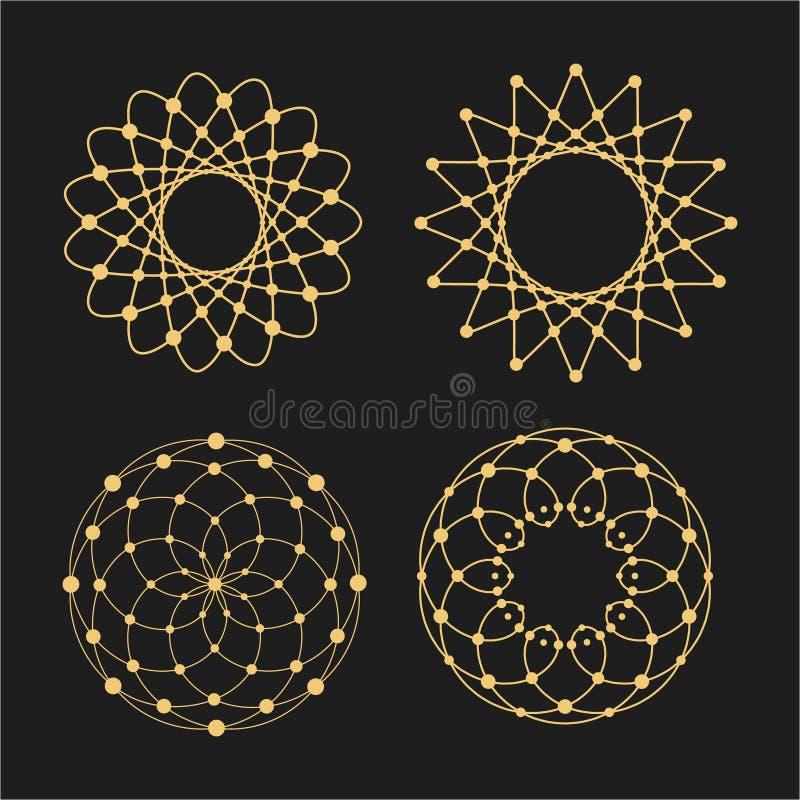 Διανυσματικοί γραμμικοί κύκλοι, αστέρια, σπειροειδή αφηρημένα λογότυπα και στρογγυλές μορφές Στοιχεία σχεδίου των σημείων και των απεικόνιση αποθεμάτων