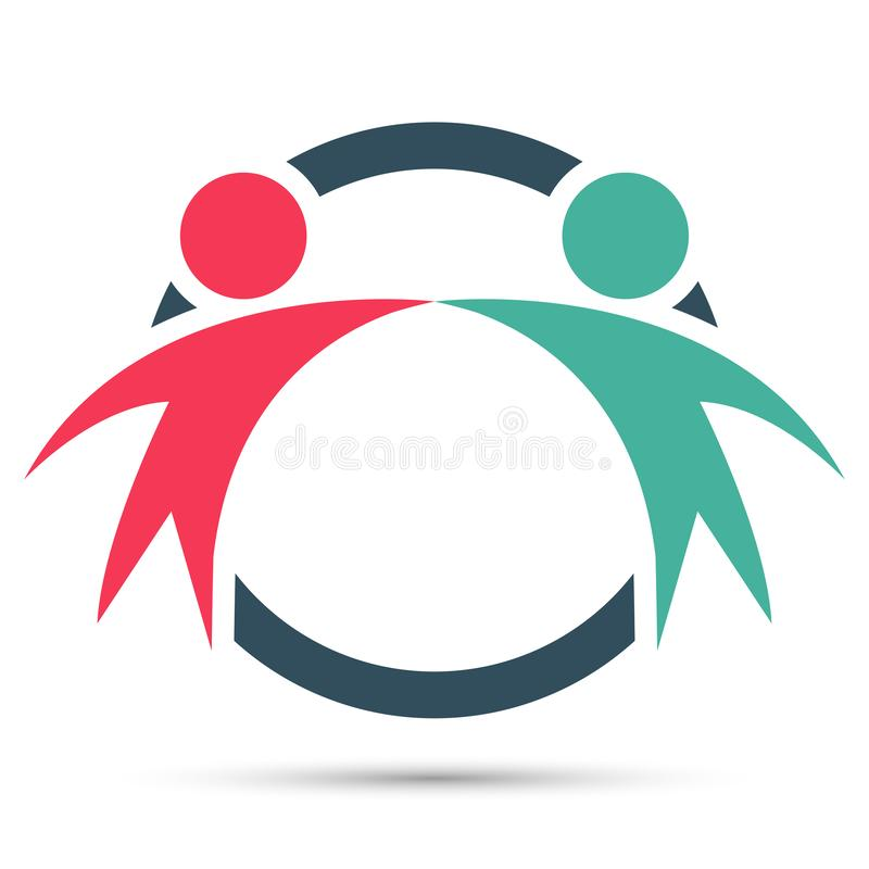 Διανυσματικοί γραφικοί δύο ευτυχείς άνθρωποι σε ένα στρογγυλό ζωηρόχρωμο λογότυπο εργασία ομάδων εικονιδίων ελεύθερη απεικόνιση δικαιώματος