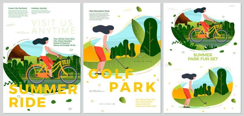 Διανυσματικοί γύρος και γκολφ θερινών τυπογραφικοί καθορισμένοι ποδηλάτων απεικόνιση αποθεμάτων