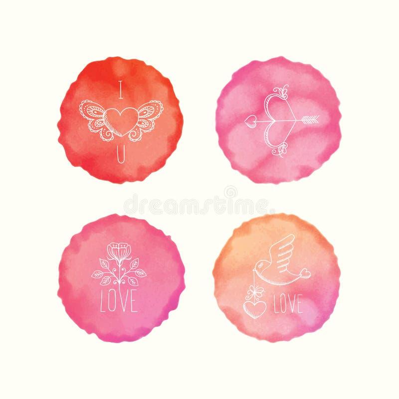 Διανυσματικοί λεκέδες watercolor, συρμένα χέρι doodle στοιχεία Χρωματισμένοι χέρι κύκλοι καθορισμένοι ελεύθερη απεικόνιση δικαιώματος
